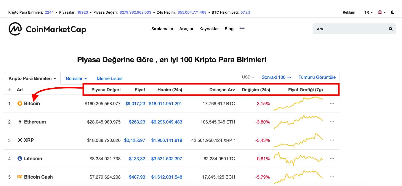CoinMarketCap Nedir - Kripto Paralar için Piyasa Değeri, Fiyat ve Hacim