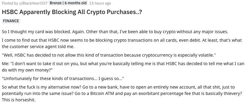 HSBC Kripto para Yasağı