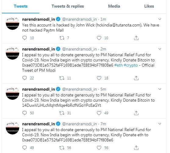 hindistan basbakani hack twitter