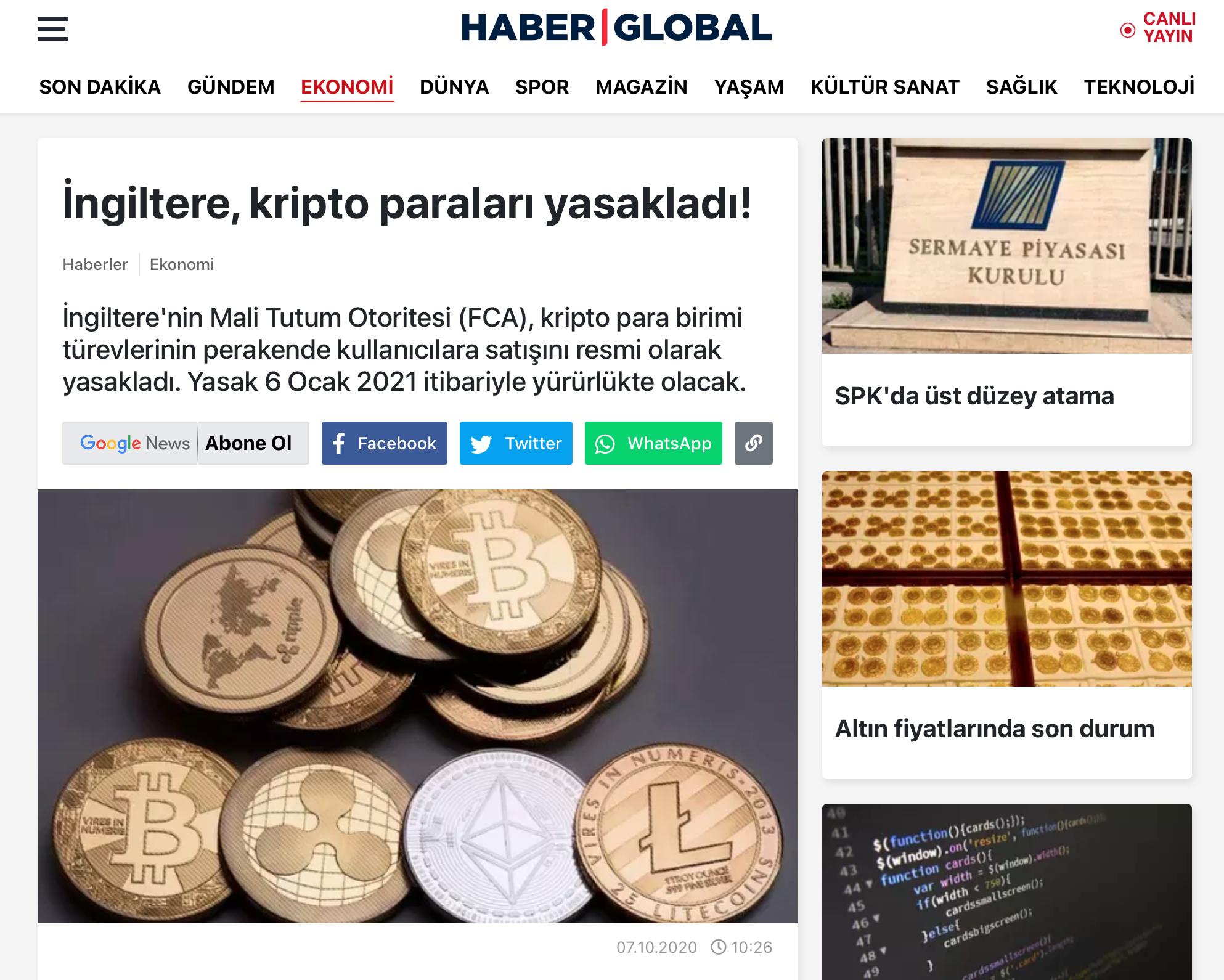 Haber Global Kripto Paralar