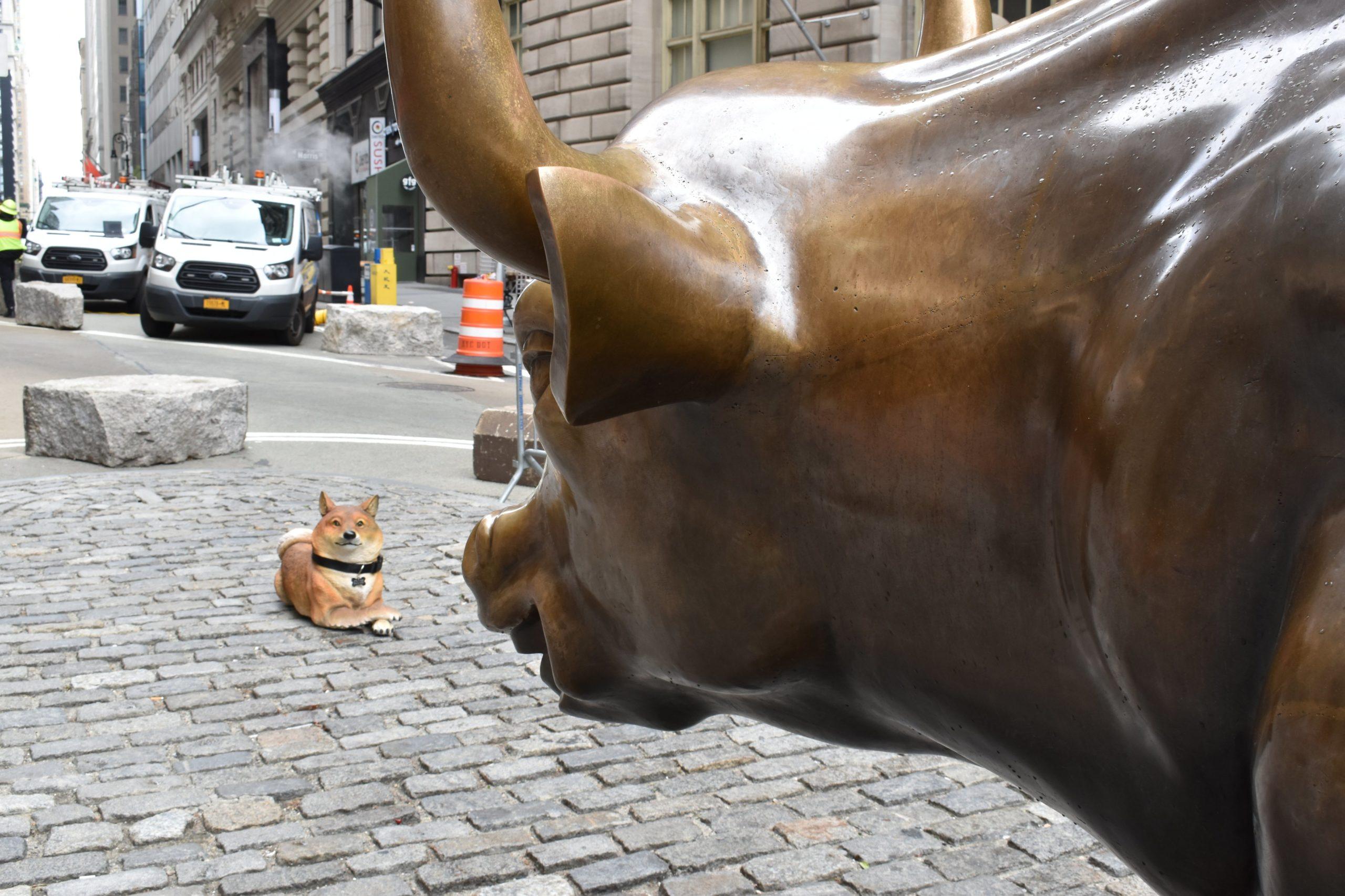 wall streetin unlu charging bull heykelinin onune dogecoini doge temsil eden shiba inu heykeli yerlestirildi